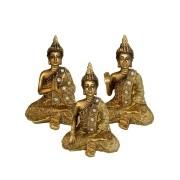 Kit Decoração: 3 Estatuetas de Buda - Resina