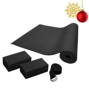 Kit Presente de Natal Yoga: Tapete + 2 Blocos EVA + 1 Cinto de Alongamento