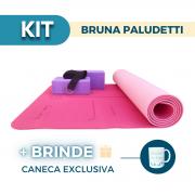Kit Yoga Completo Bruna Paludetti - Tapete TPE + 2 Blocos + Cinto