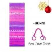 Tapete de Yoga Estampado Aveludado Degradê Rosa + Porta Mat Crochê Brinde