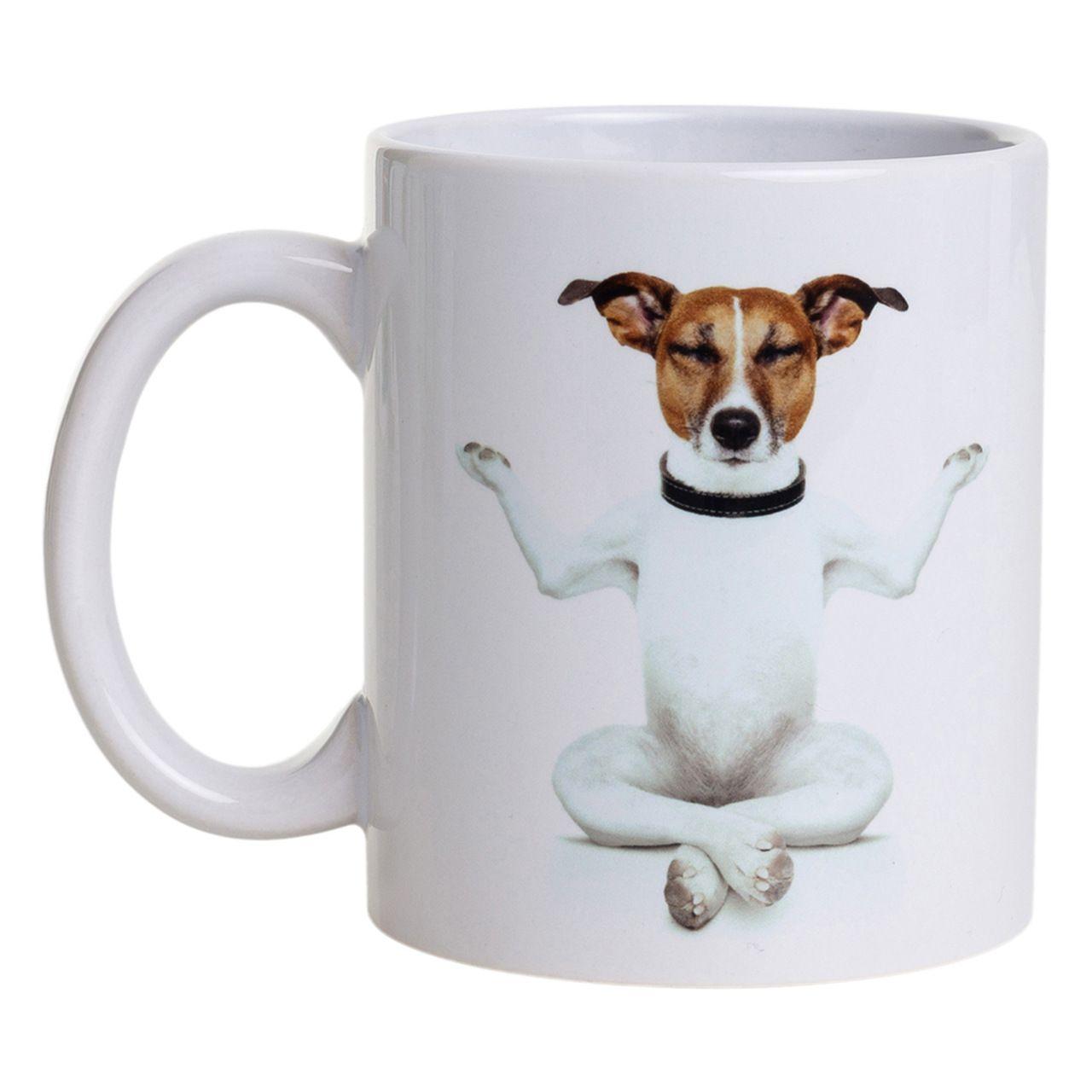 Caneca De Porcelana - Cachorro Meditando + Namastê