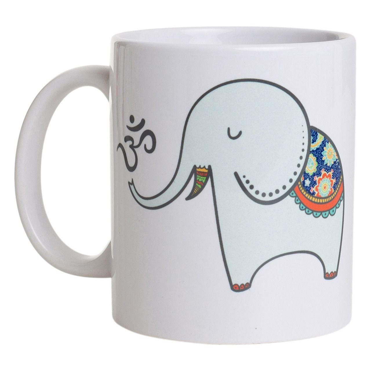 Caneca De Porcelana - Elefante com Om + Yoga
