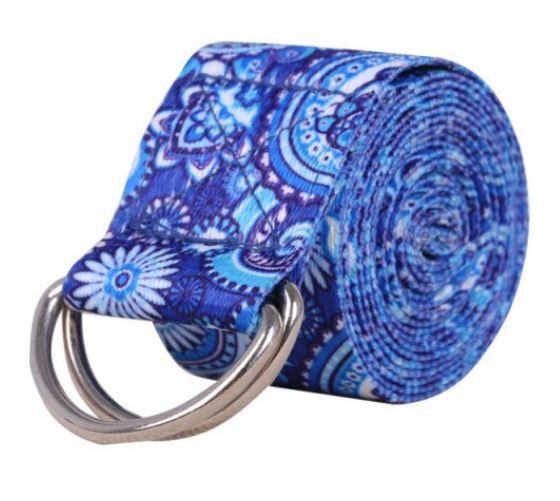 Cinto / Faixa de Alongamento Estampado - Yoga Strap - Azul Mandala