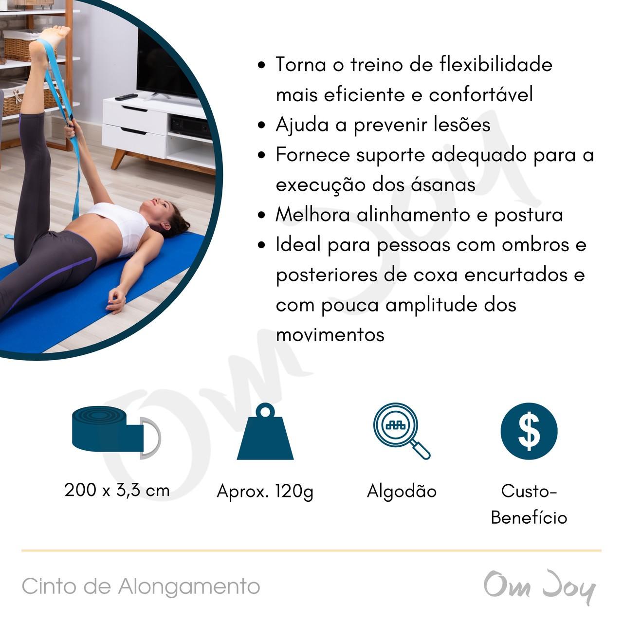 Cinto para Alongamento - Yoga Strap - Cor Lisa (200 cm)