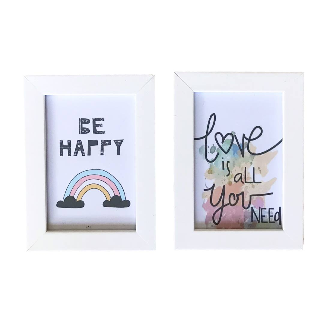 Conjunto de Quadros - Be Happy & Love - 13x18cm (Cada)