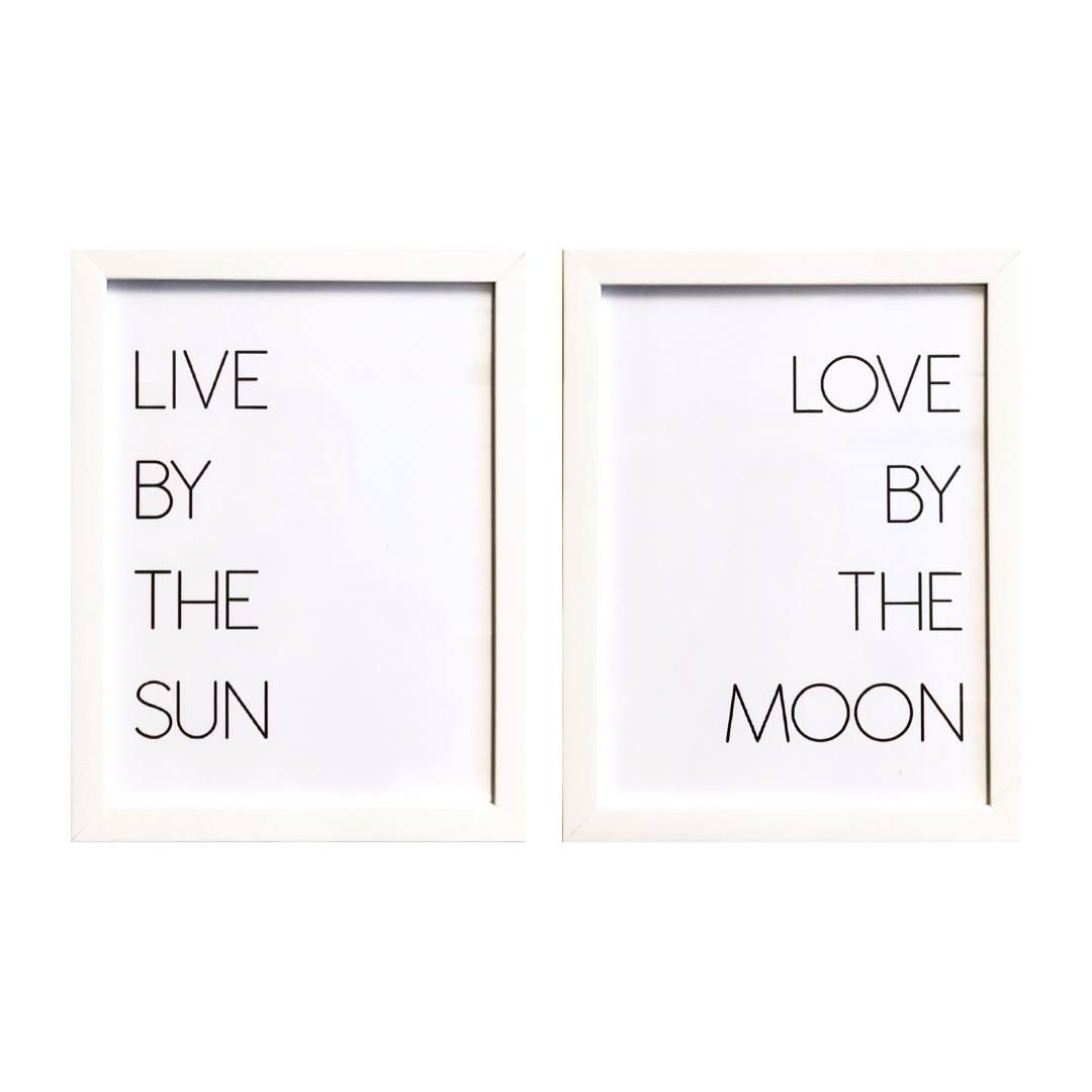 Conjunto de Quadros - Live By The Sun & Love By The Moon - 23x30cm (Cada)