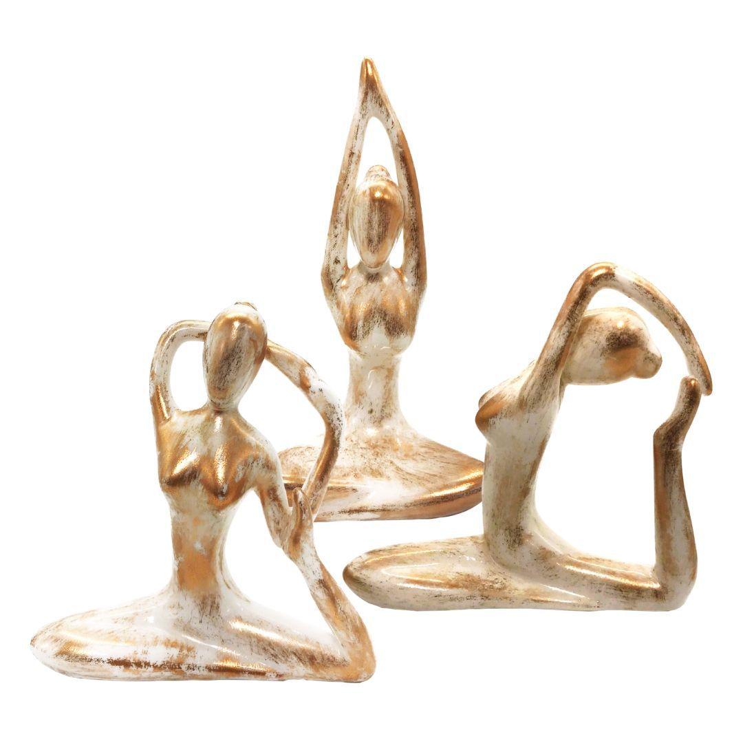 Estatueta de Cerâmica - Posturas de Yoga (Cor Mesclada)