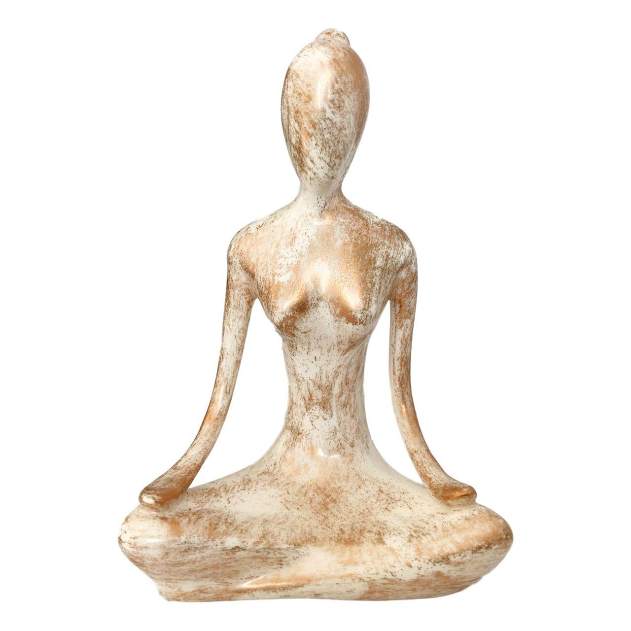 Estatueta de Cerâmica - Yoga - Meditação (Cor Mesclada)