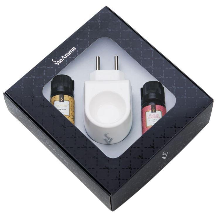 Flor de Cerejeira e Vanilla - Kit Presente Aromatizador Elétrico Standard com Essências - Via Aroma