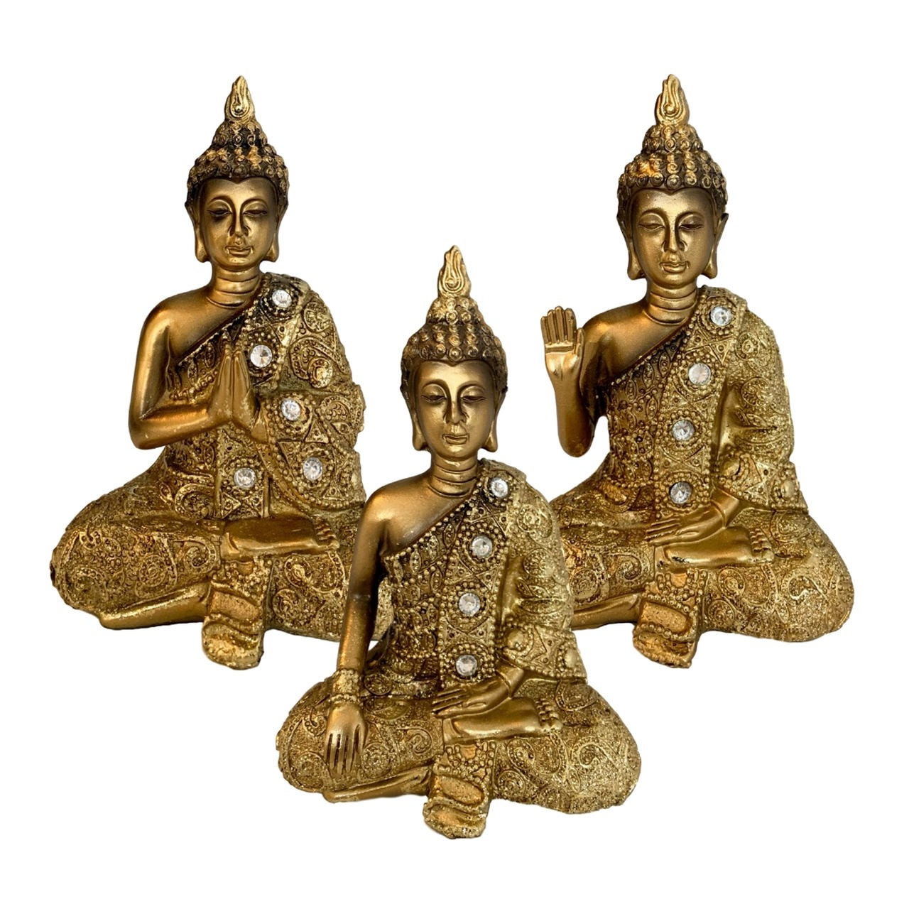 Kit 3 Estatuetas de Buda - Resina