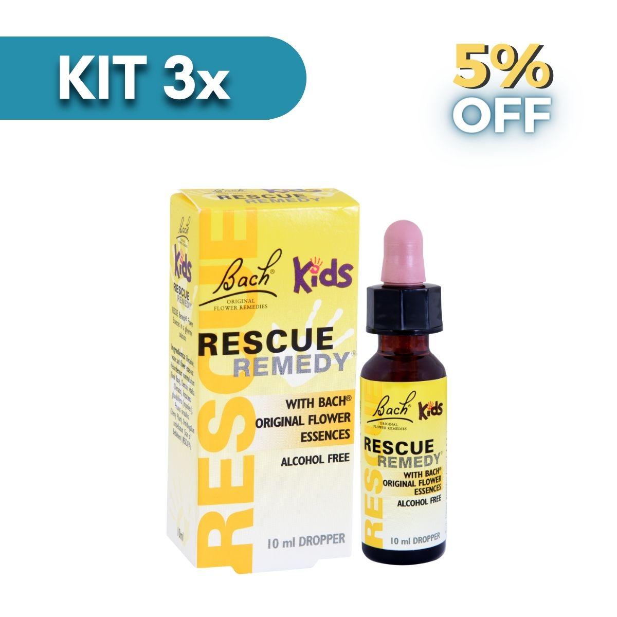 Kit 3x Rescue Kids Gotas - 10ml - Florais De Bach