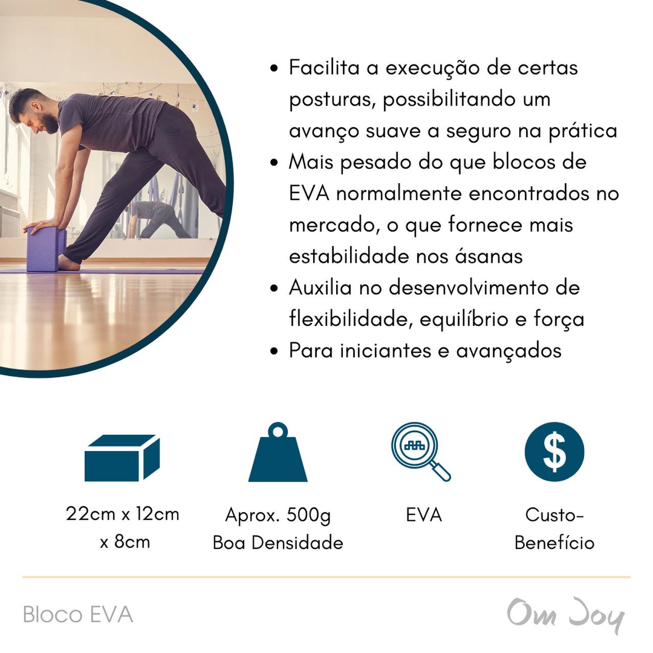 Kit Básico Iniciante Yoga: Tapete + 2 Blocos EVA + 1 Cinto de Alongamento