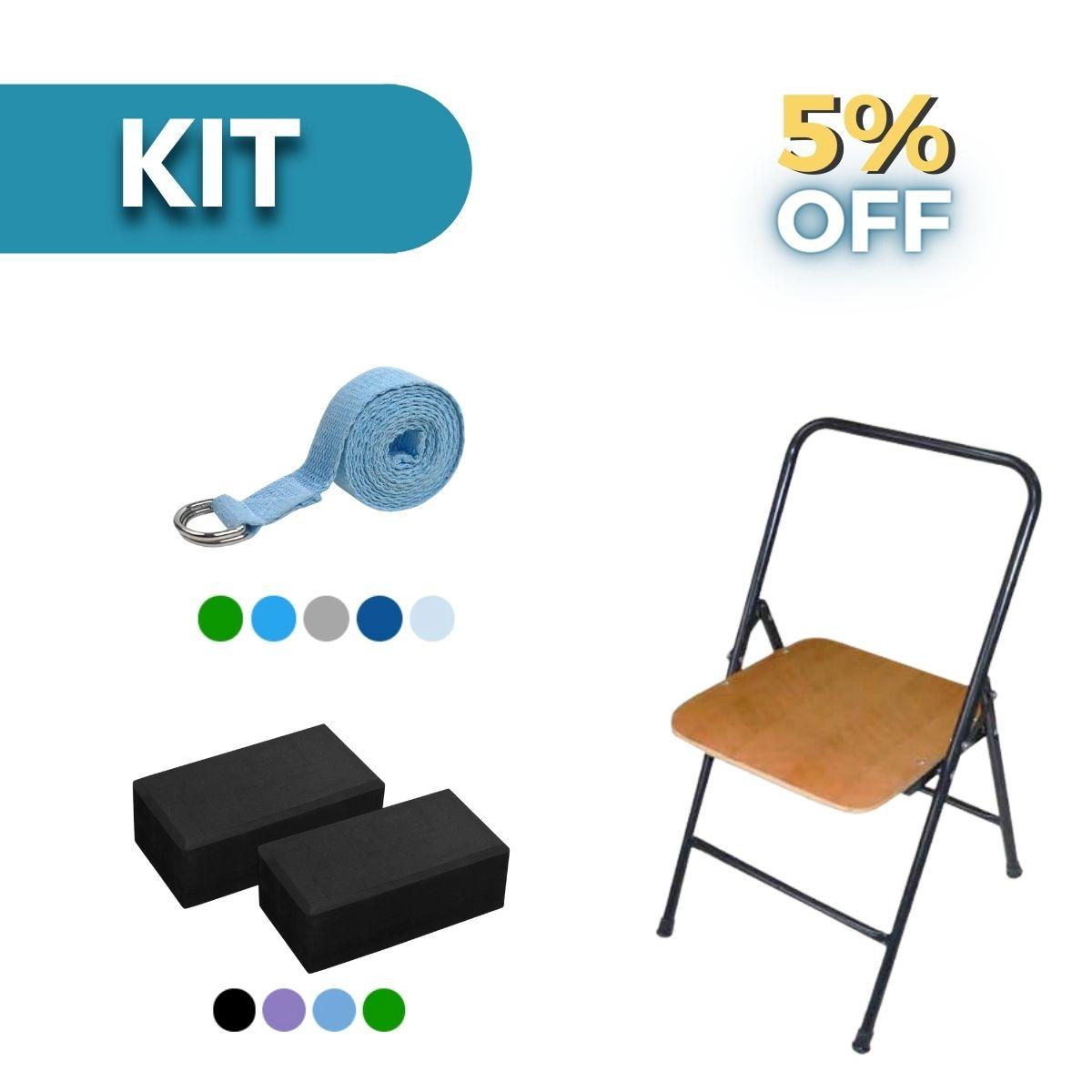 Kit Cadeira Iyengar Yoga, 2 Blocos EVA e Cinto de Alongamento