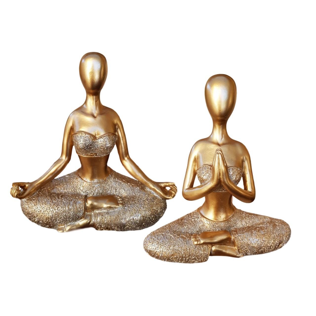 Kit Estatuetas de Resina - Yoga - Meditação & Namastê