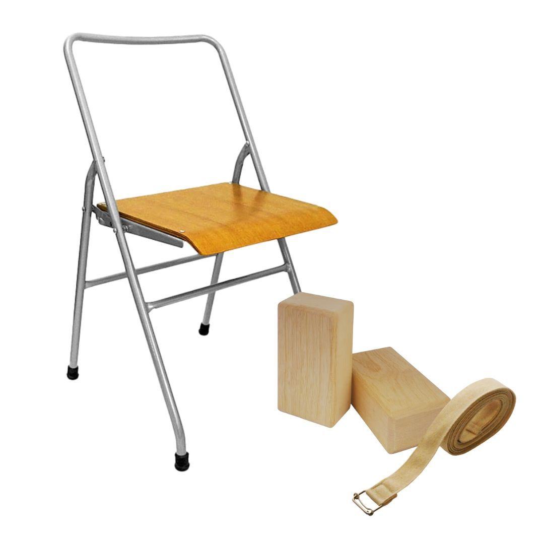 Kit Iyengar Yoga  - Cadeira, 2 blocos de madeira  e 1 cinto