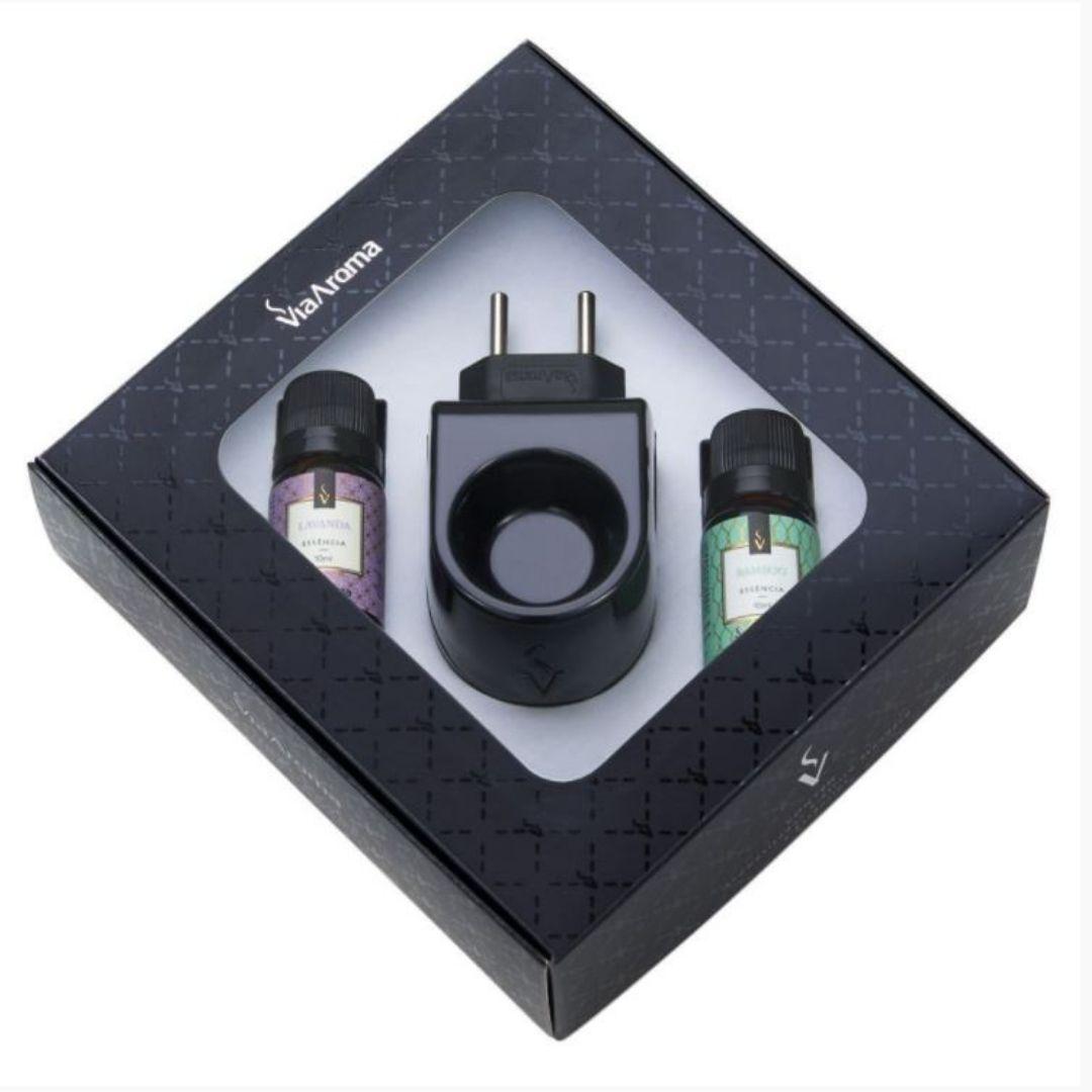 Bamboo e Lavanda - Kit Presente Aromatizador Elétrico Standard Black com Essências - Via Aroma