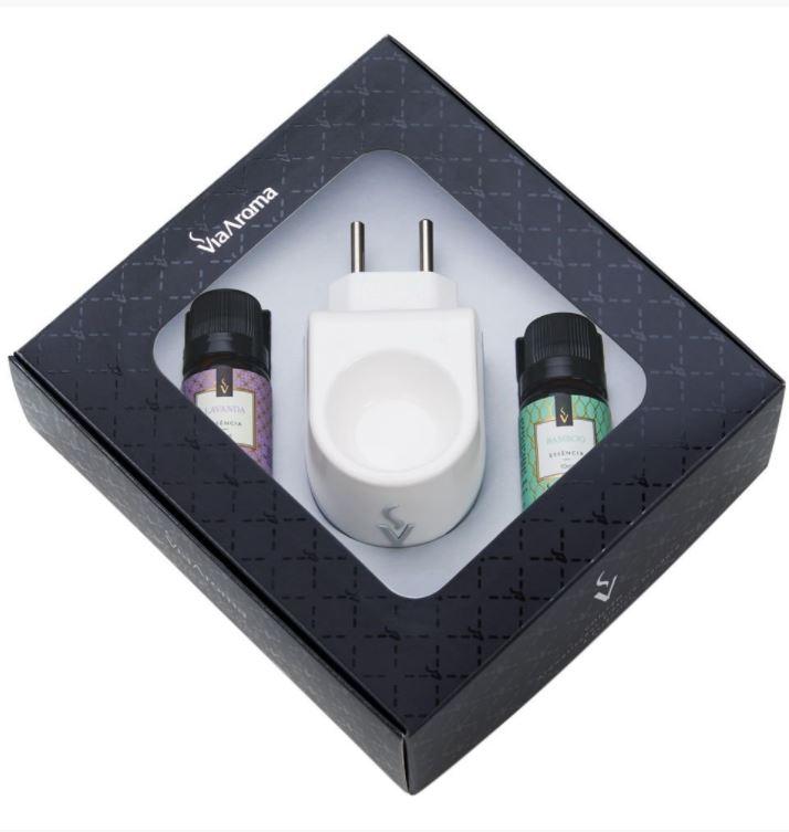 Kit Presente Aromatizador Elétrico Standard com Essências - Bamboo e Lavanda - Via Aroma