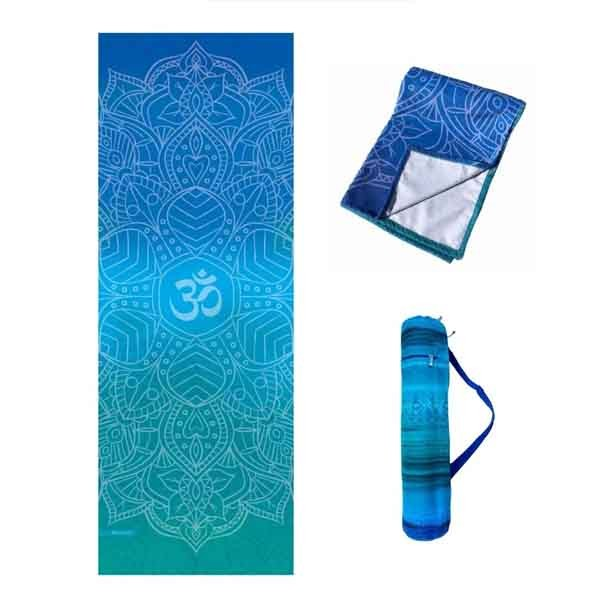 Kit Tapete Aveludado, Bolsa Porta Mat e Toalha Antiderrapante - Om Azul e Verde