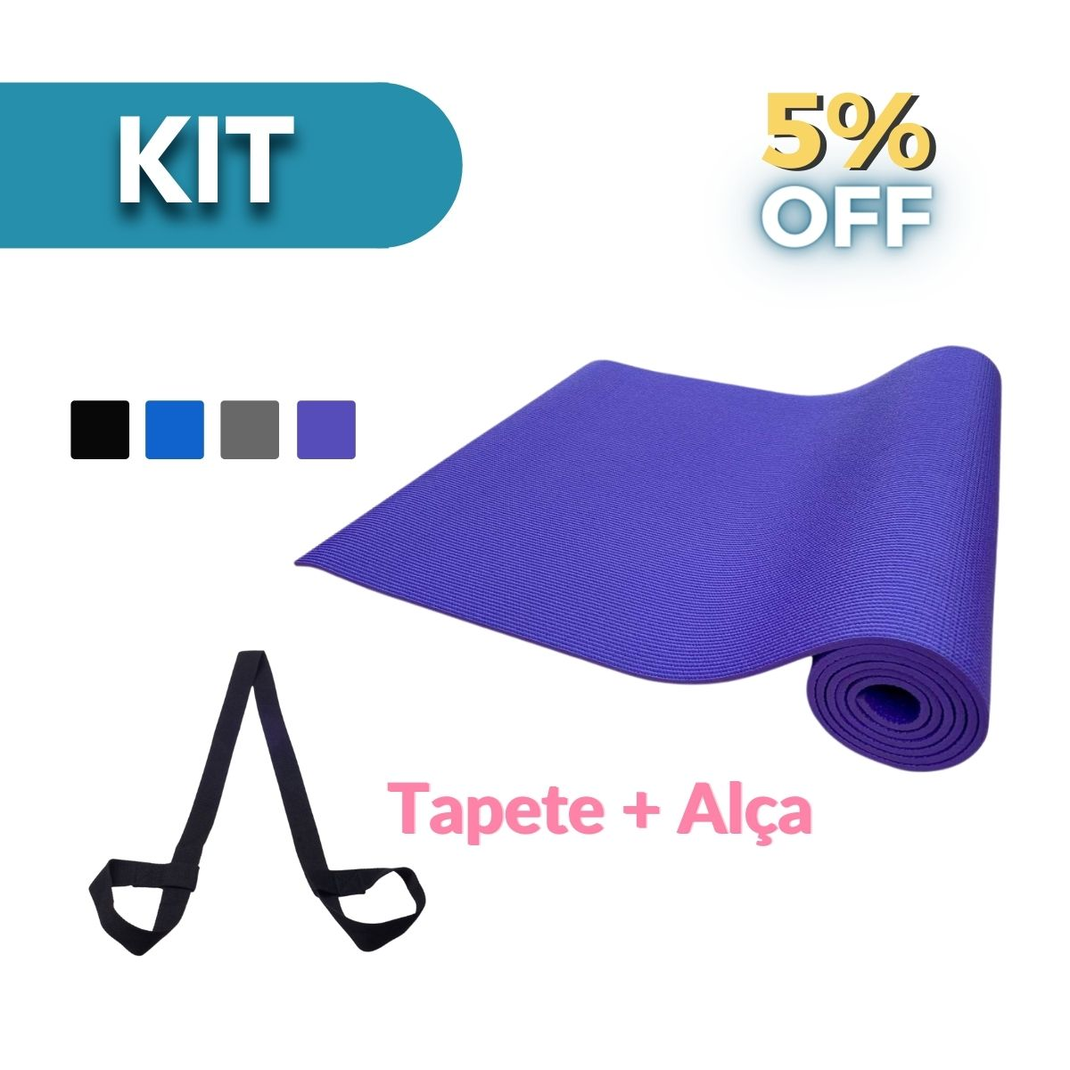 Kit: Tapete PVC Yoga & Pilates + Alça Porta Mat