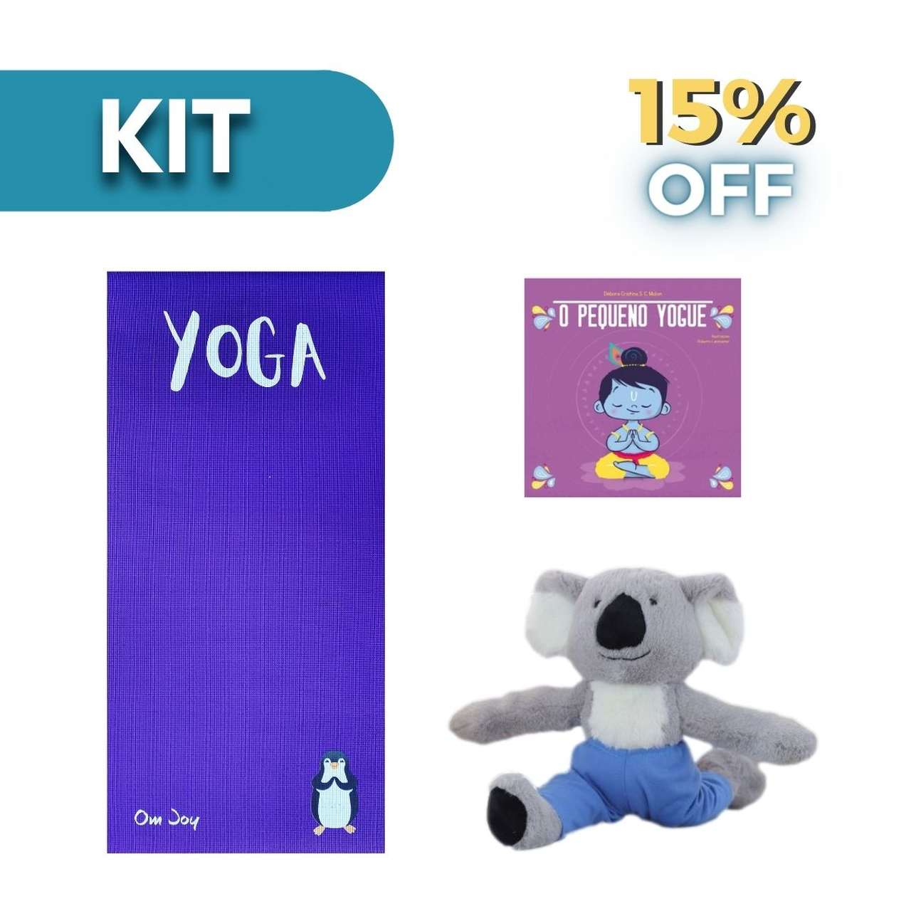 Kit Yoga Kids - Tapete Kids estampado + Coala Yogue + Livro O Pequeno Yogue