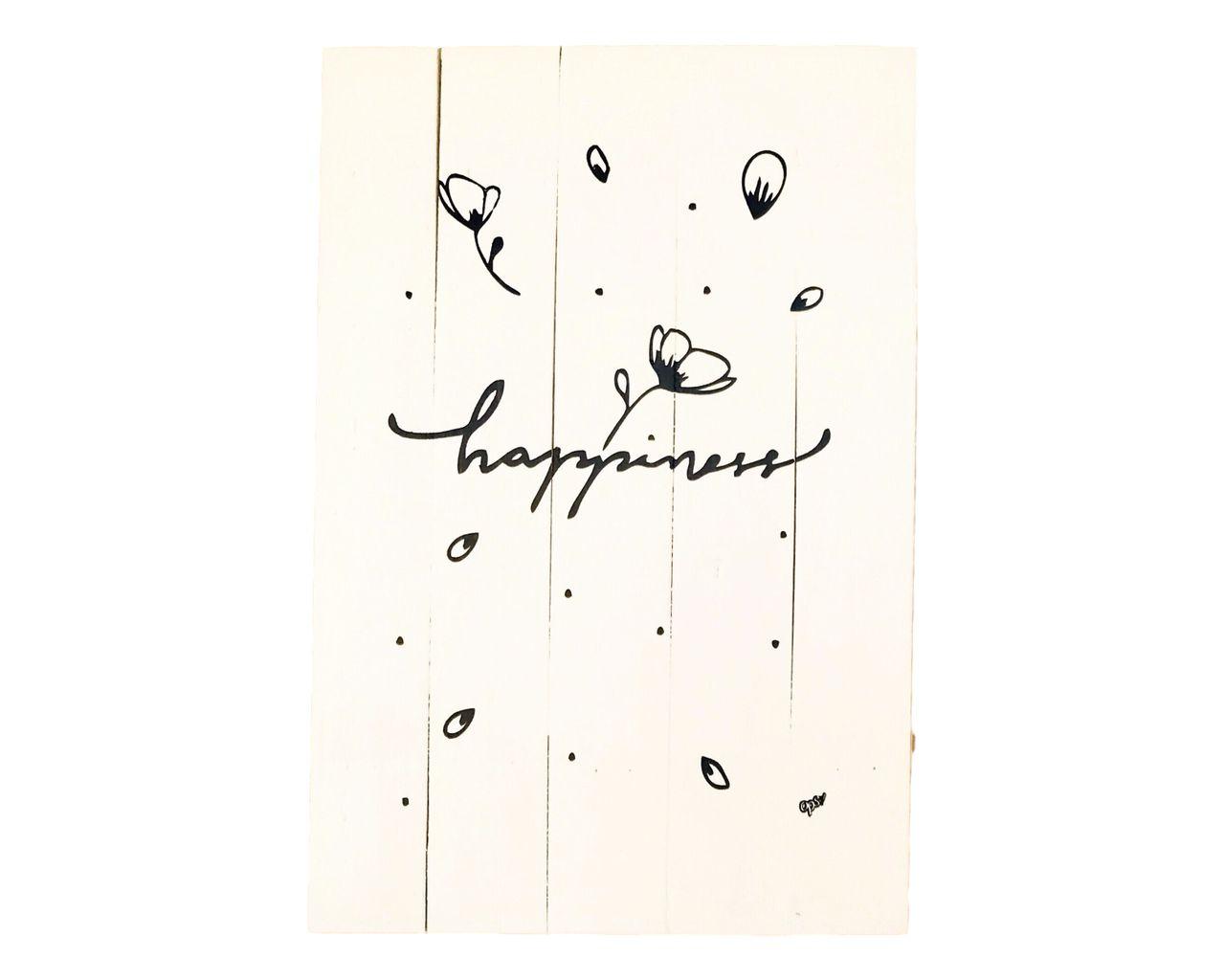 Quadro de Madeira - Happiness