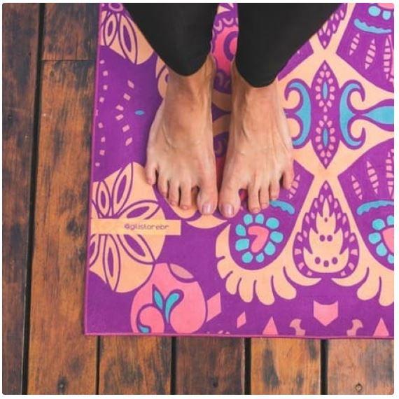 Tapete de Yoga Estampado Aveludado - Hamsa