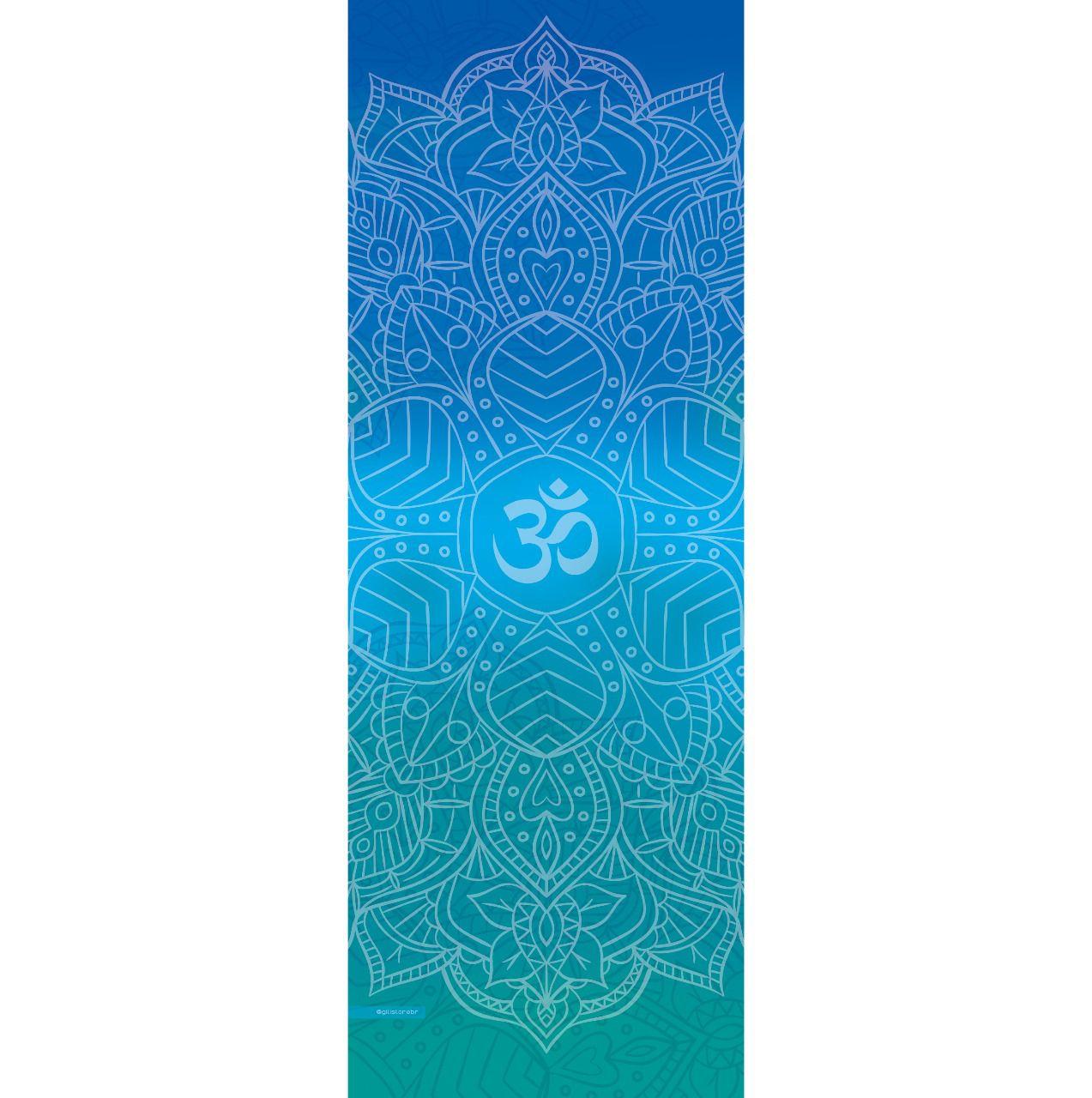Tapete de Yoga Aveludado Om  Degradê Azul e Verde