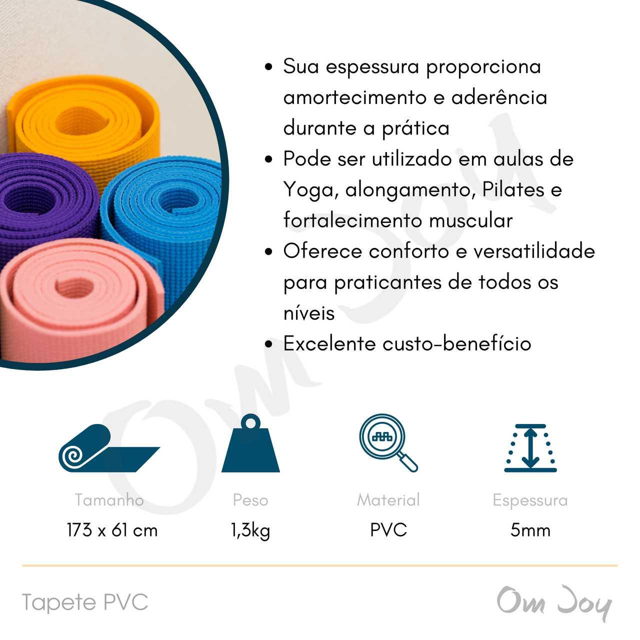 Tapete Básico PVC de Yoga, Pilates e Exercícios Funcionais - 173x61cm