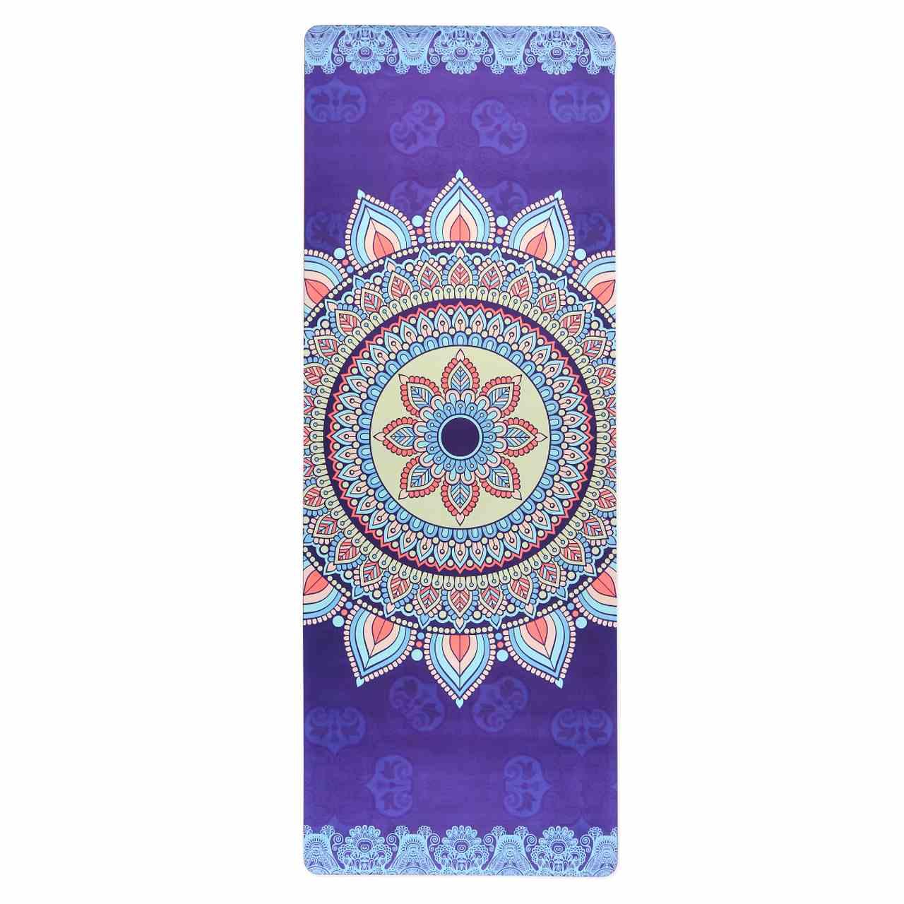 Tapete de Yoga Aveludado com Borracha Natural 183x68cm - Mandala Harmonia
