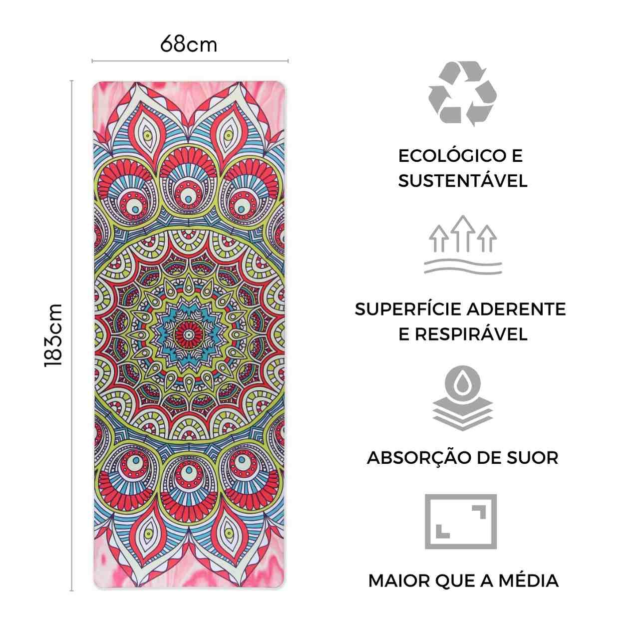Tapete de Yoga Aveludado com Borracha Natural 183x68cm - Mandala Vibrações