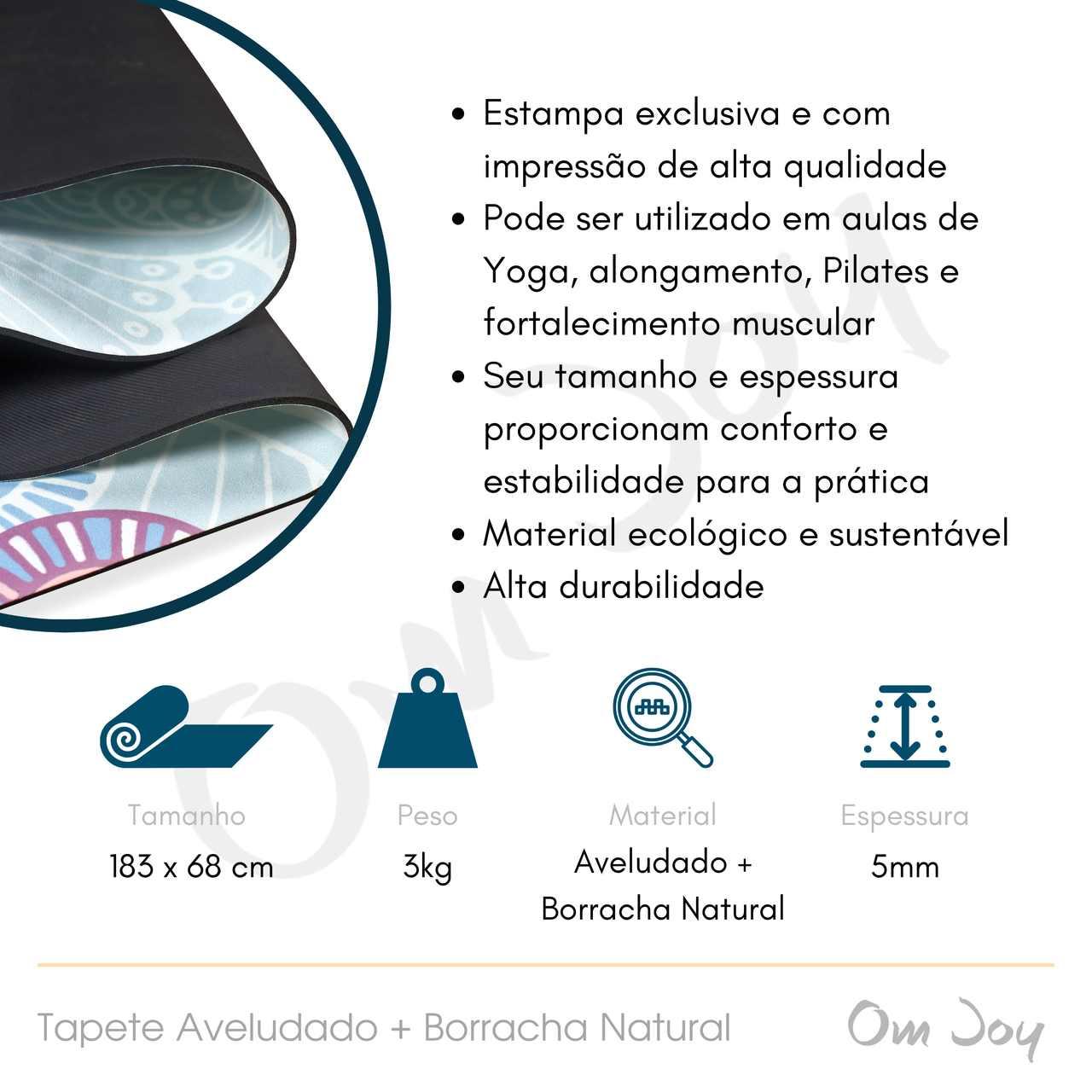 Tapete de Yoga Aveludado com Borracha Natural 183x68cm - Paz Interior