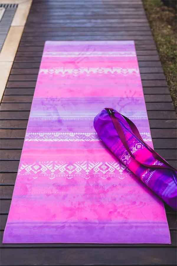 Tapete de Yoga Estampado Aveludado Degradê Rosa