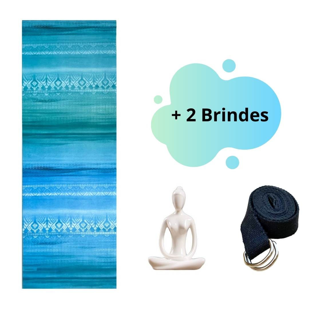 Tapete de Yoga Aveludado Étnico Degradê Azul e Verde  + 2 Brindes