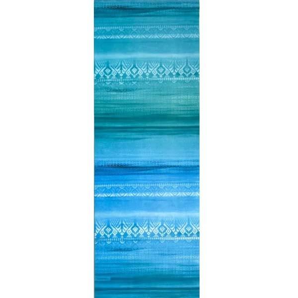 Tapete de Yoga Estampado Aveludado - Étnico Degradê Azul e Verde