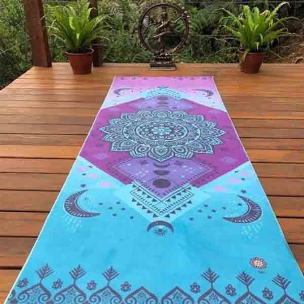Tapete de Yoga Estampado Aveludado - Fases da Lua