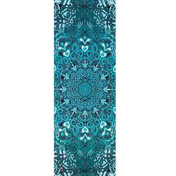 Tapete de Yoga Estampado Aveludado - Mandala Verde Acqua