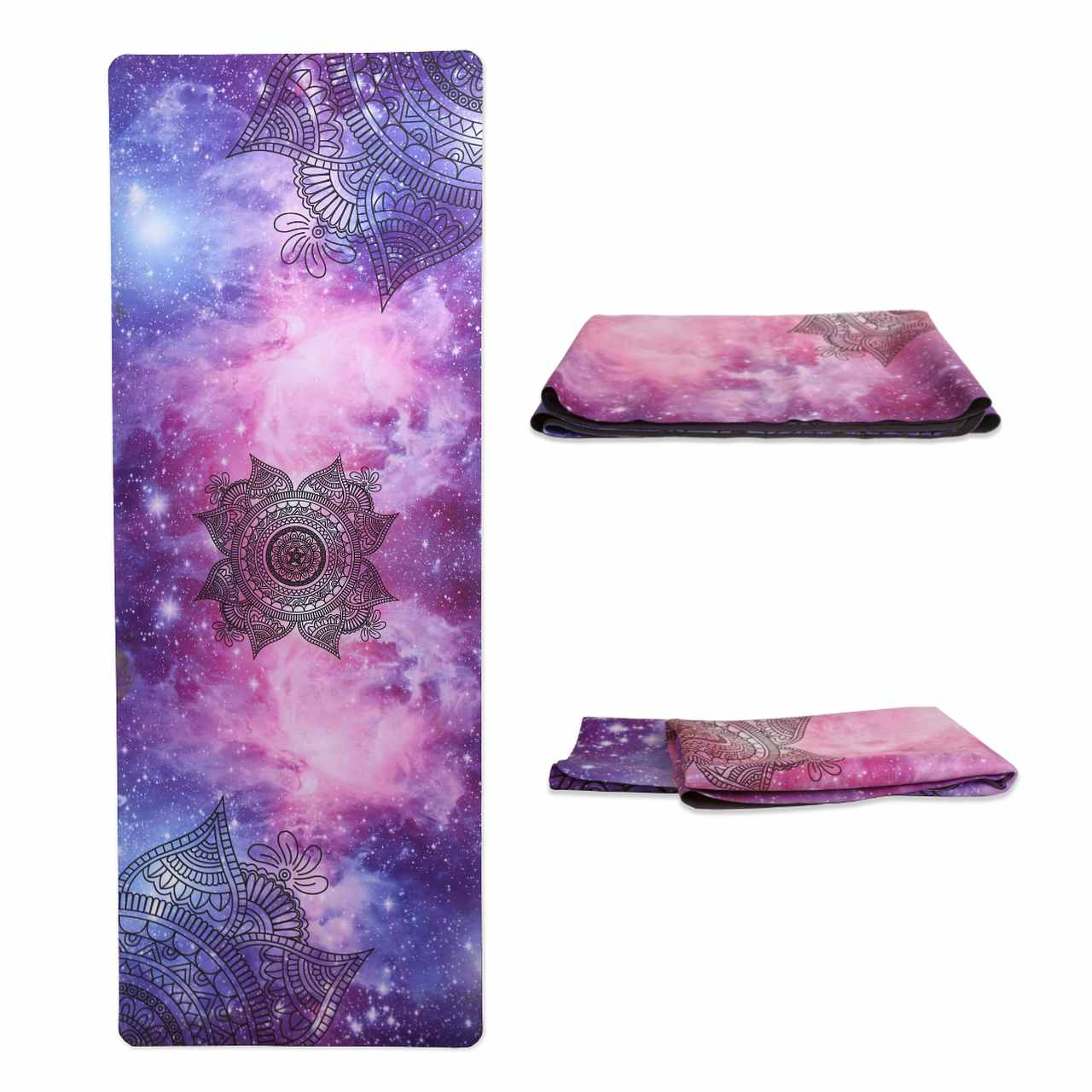 Tapete Yoga Dobrável Viagem Cosmos - Aveludado + Borracha Natural 1,5mm
