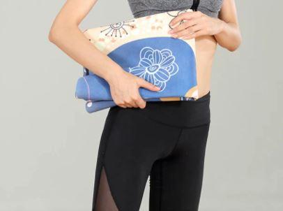 Tapete de Yoga Dobrável para Viagem Aveludado com Borracha Natural 1,5mm - Elefante