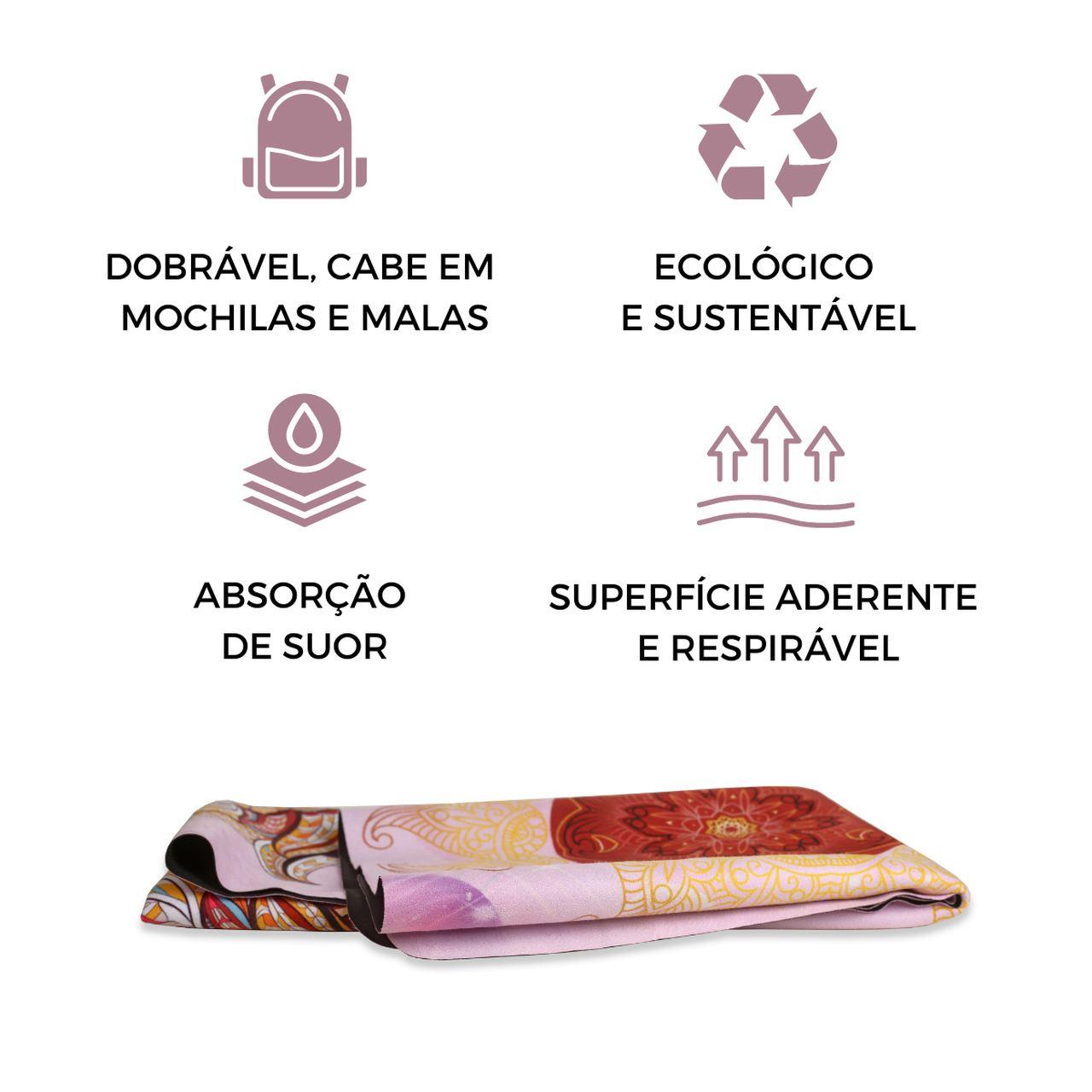 Tapete Yoga Dobrável Viagem Leão - Aveludado + Borracha Natural 1,5mm