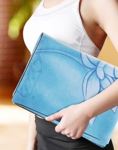 Tapete de Yoga Dobrável para Viagem Aveludado com Borracha Natural 1,5mm - Linhas de Postura