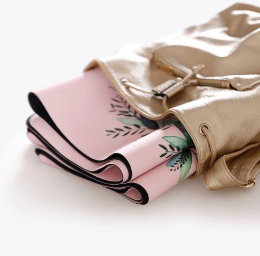 Tapete Yoga Dobrável Viagem Linhas de Postura - Aveludado + Borracha Natural 1,5mm