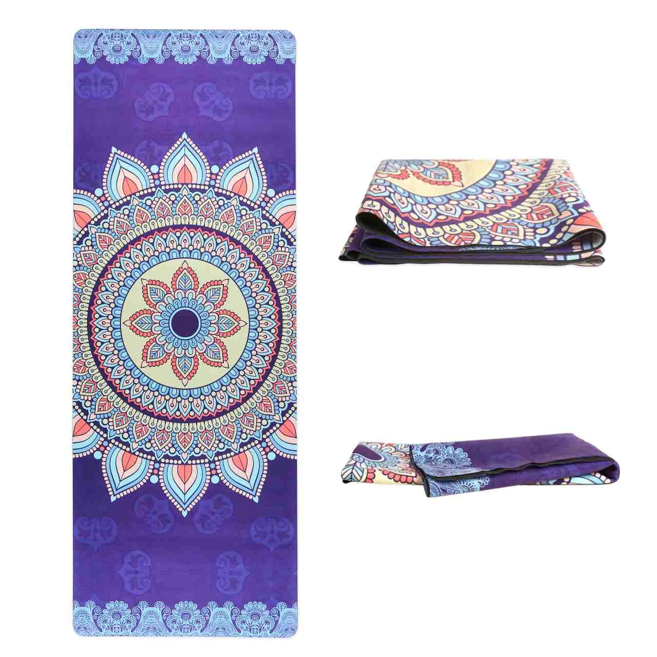 Tapete Yoga Dobrável Viagem Mandala Harmonia - Aveludado + Borracha Natural 1,5mm