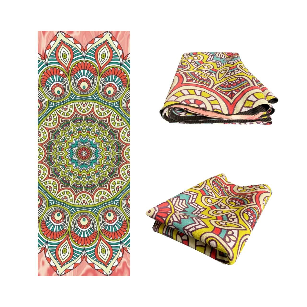Tapete de Yoga Dobrável para Viagem Aveludado com Borracha Natural 1,5mm - Mandala Vibrações