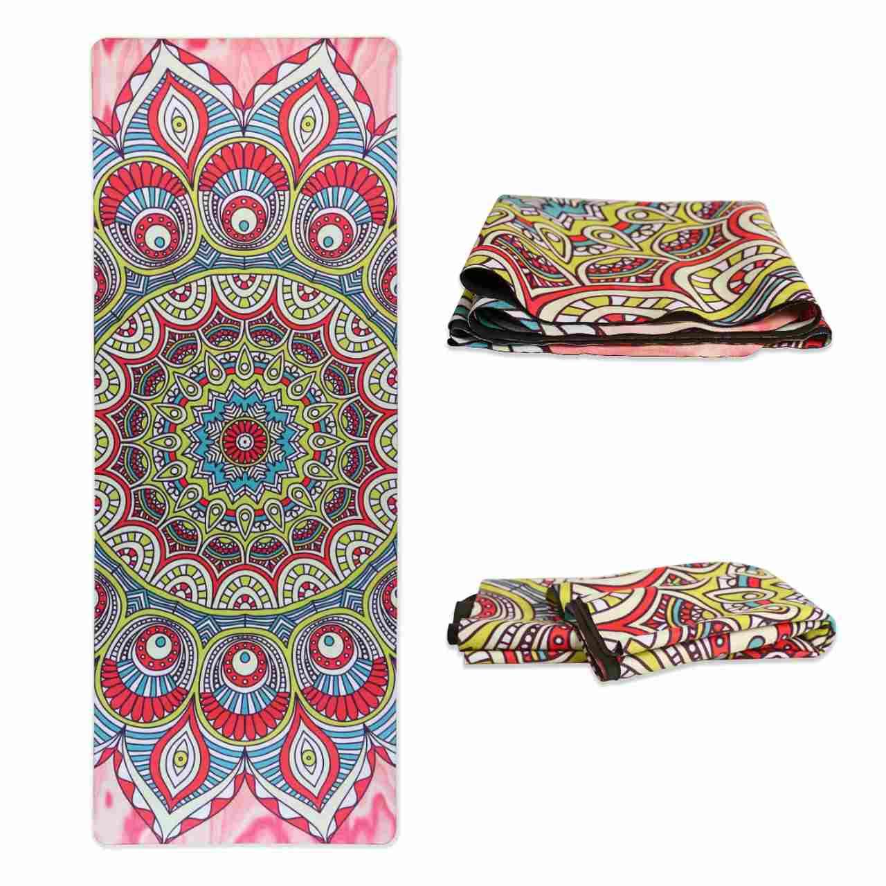 Tapete Yoga Dobrável Viagem Mandala Vibrações - Aveludado + Borracha Natural 1,5mm
