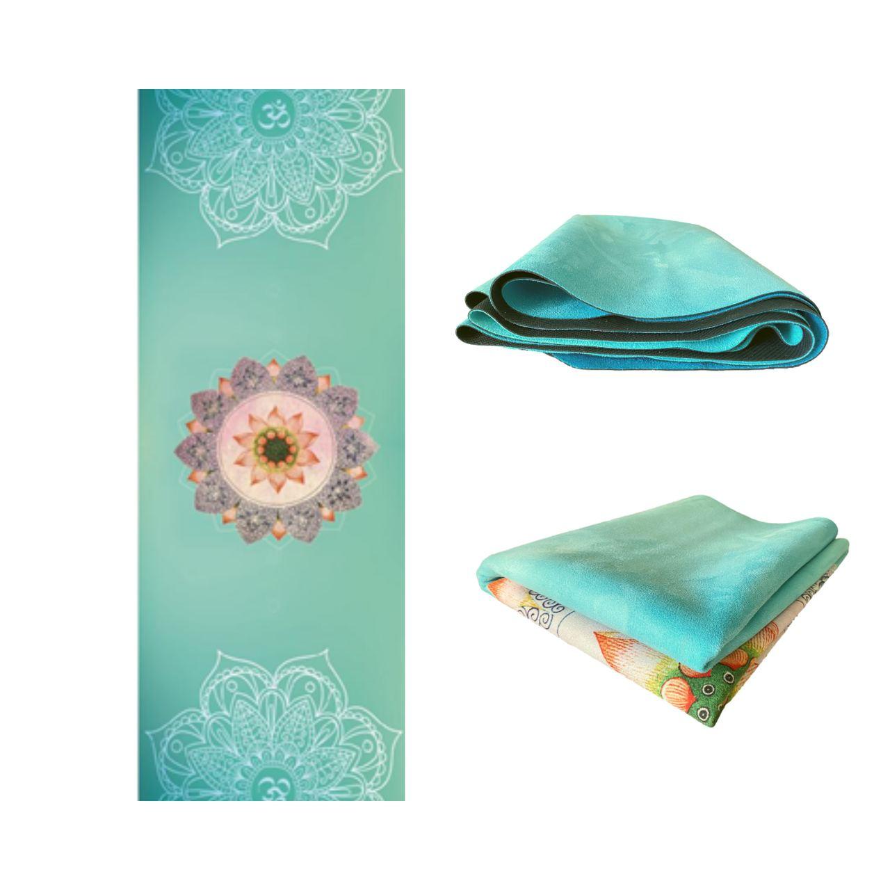 Tapete de Yoga Dobrável para Viagem Aveludado com Borracha Natural 1,5mm - Paz Interior
