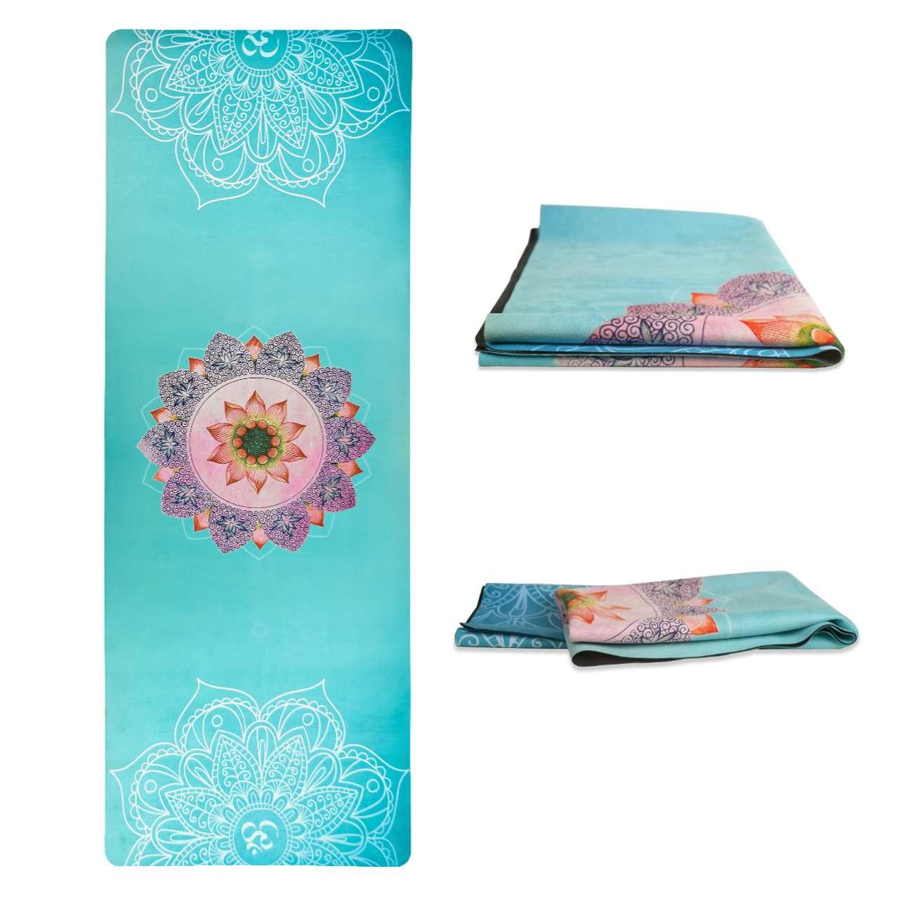 Tapete Yoga Dobrável Viagem Paz Interior - Aveludado + Borracha Natural 1,5mm