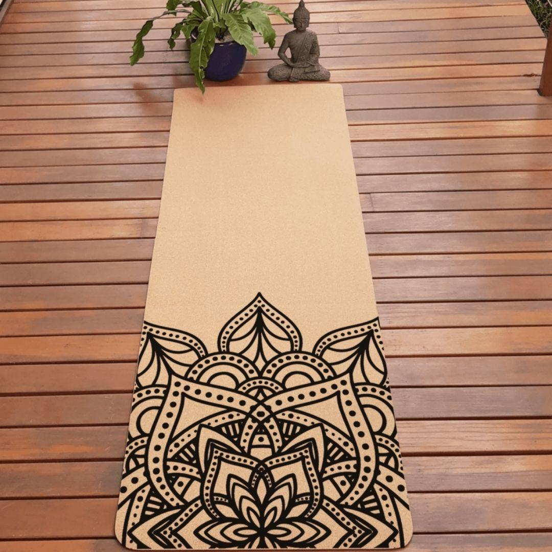 Tapete de Yoga em Cortiça Natural - Ecológico - Mandala