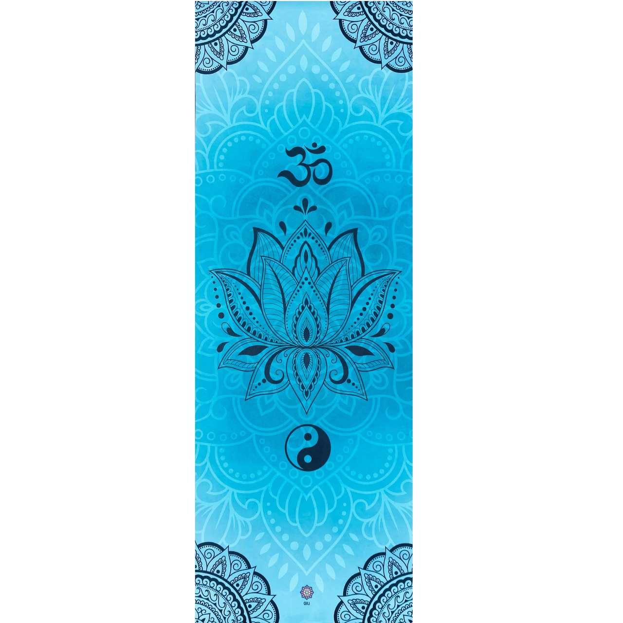 Tapete de Yoga Estampado Aveludado - Om Lótus Yin Yang