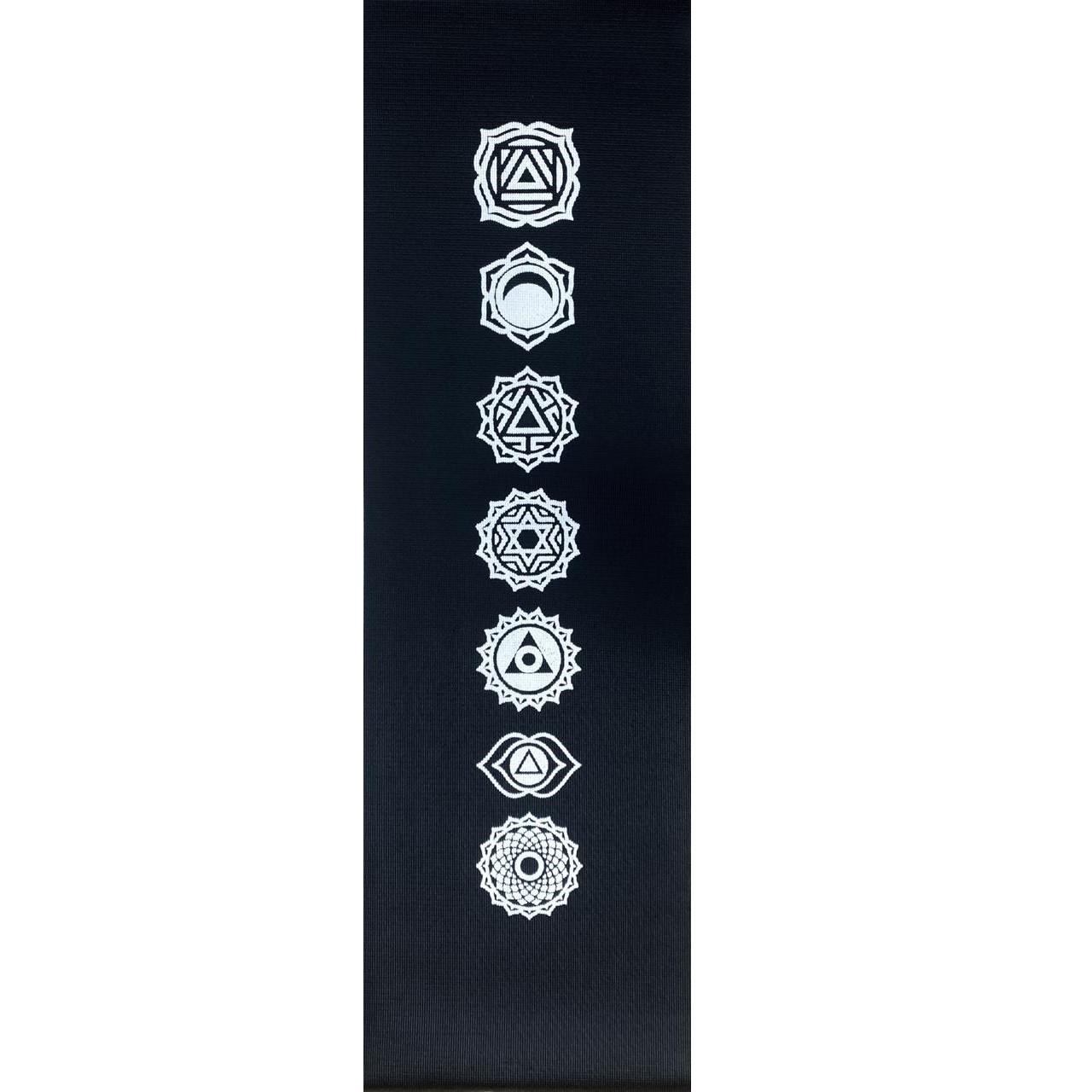 Tapete de Yoga PVC Estampado - Chakras - Preto