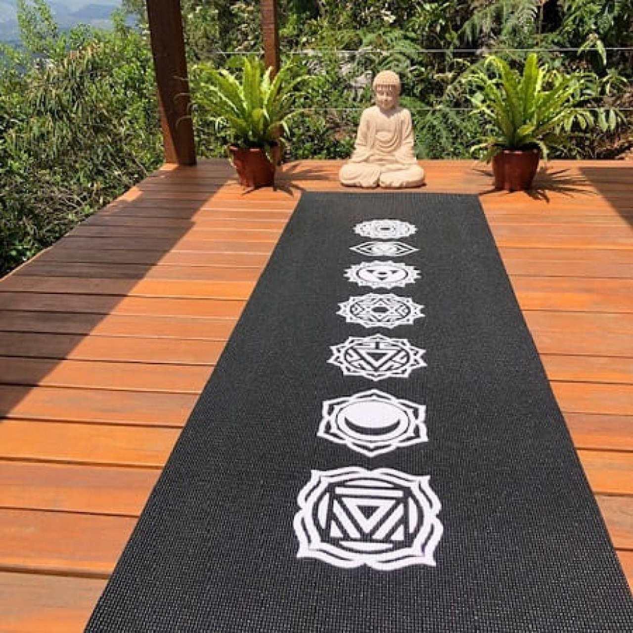 Tapete de Yoga PVC Premium - Chakras - Preto